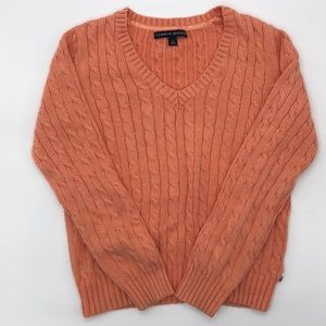 Tommy Hilfiger Orange Cable Knit Chunky Sweater